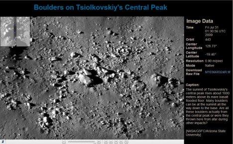 Tsiolkovskiy boulders LROC